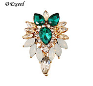 D Exceed ew Fashion Clear and Green Crystal Gold Plated Elegant Brooch Pin Jewelry Women