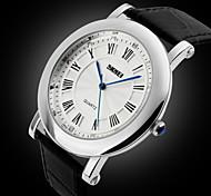 Men's Slim Case Classic Roman Dial Leather Strap Quartz Watch