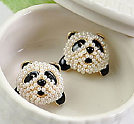 Sweet Full Diamond Beads Panda Pearl Earrings