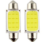 2pcs Festoon 39mm 3W 240lm 6000K COB LED White Light for Car Steering Light Bulb / Reading Lamp(DC12V)