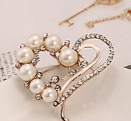 New Arrival Fashion Jewelry Rhinestone Heart Pearl Brooch