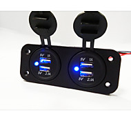 Painel buraco 2 Dual USB soquete carregador de carro
