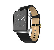 Top-grain Geniune Leather Strap with Stainless Metal Clasp Connector for Apple Watch 38mm/42mm