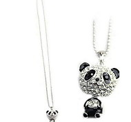(1 Pc) Fashion (Animal Pendant) Silver Panda Flash Diamond Alloy Pendant Necklace(Black And White)