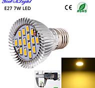 7W E26/E27 Focos LED A50 15 SMD 5630 600 lm Blanco Cálido Decorativa AC 100-240 / AC 110-130 V 1 pieza