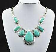 Vintage Look Antique Silver Plated Water Drop Turquoise Stone Necklace Pendant(1PC)