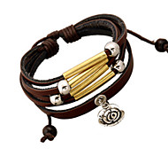 Fashion Men'S Flower Pendant  Leather Bracelet