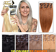 "7PCS/8PCS 100% Remy Real Human Hair Clip In Extensions 14""-24"" Straight 70G/100G many colours for women beauty"