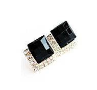 Women's Fashion Brand Design Exaggerated Square Zircon Stud Earrings