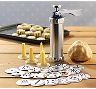 24 In 1 Stainless Steel Aluminium Cookie Mould Gun Cake Decorating Tools 20 Mold+4 Pastry Tube