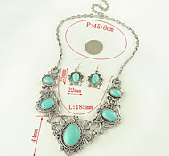 HUALUO®Europe And Imitation Turquoise Necklace Sets Carved Thai Silver Jewelry