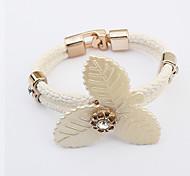 Fashion Europe Wild Flower Alloy / Leather / Rhinestone Bracelet Leather Bracelets