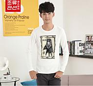 CELUCASN Hommes Col Arrondi Manche Longues T-shirt Blanc - J5PP2193M0202