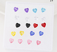 European Style Concise Fashion Resin Hypoallergenic Earrings Heart Star Flower (Random Color)