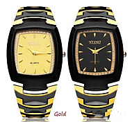 BestMart Fashion YISHI Stainless Steel Gold Black Men Wrist Quartz Watch