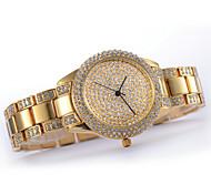 Montre strass de la mode de luxe cadran rond en acier inoxydable bande de poignet quartz analogique des femmes (de couleurs assorties)