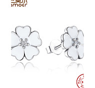 New Arrival Original 925 Sterling Silver Garden Enamel Stud Earrings Compatible with Jewelry Authentic Gift