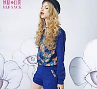 ELFSACK Women's Shirt Collar Long Sleeve Sets Blue - 1341023