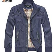 Lesmart Hommes Mao Manche Longues Veste Bleu / Marron - JX13017