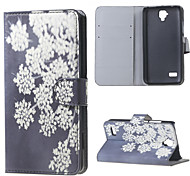 Beautiful Flowers Pattern Magnetic PU Leather Stand Cover Case with Card Slots for Huawei Y5 Y560