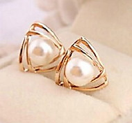 Fashion Double Triangle Pearl Earrings