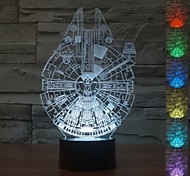 Visual 3D Millennium Falcon Model Mood Atmosphere LED Decoration USB Table Lamp Colorful Gift Night Light