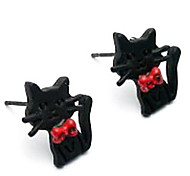 Women's New Korean Version Of The Retro Charming Exaggerated Bow Black Cat Earrings