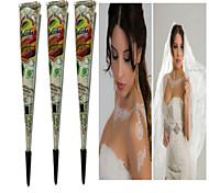 Хэллоуин 3шт белый хной конусов Tatoo трубки индийский временная краска тела татуировки для новобрачных& свадьба