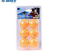 Super-K Seamless Yellow Celluloid Table Tennis 6 Pcs with Blister with Insert Card