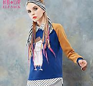 ELFSACK Femme Col de Chemise Manche Longues Hoodie Sweat & Bleu / Violet - 1431100