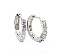 Women's Fashion Elegant Silver Plated Crystal Zircon Earrings