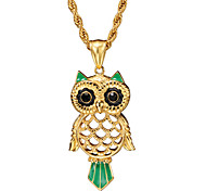Glaze Coloful Owl Hollowed 316L Stainless Steel Pendant Necklace