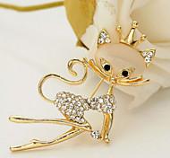 nova jóia da forma de chegada de strass broche de gato opala