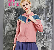 ELFSACK Femme Col de Chemise Manche Longues Shirt et Chemisier Bleu / Rose - 1434132