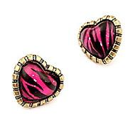 Korean Heart-shaped Stripe Peach  Fashion Retro Earring