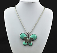 Vintage Look Antique Silver Plated Butterfly Turquoise Stone Necklace Pendant(1PC)
