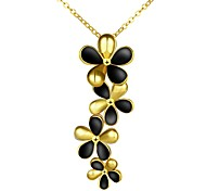 Elegant Simple Generous Flower with Black Petal Gold-Plated Pendant Necklace(White,Gold,Rose Gold)(1PC)