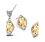 Jewelry Set Crystal Elegant Rhombi Pendant Necklace Earring Gift for Bride