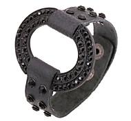 Black Steel Wire Oval Shape Punk Leather Bracelets