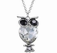 Fashion Long Diamond Owl Necklace