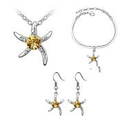 jóias de toda a venda de cristal elegante conjunto cristal mar estrela presente original pingente de colar brincos de argola namorada