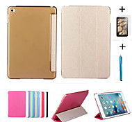 Smart Cover Leather Case + PC Translucent Back Case For Apple iPad Air 2 +Free Gift Protector Film+Touch Pen