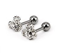 Micky Mouse Full Stone Stainless Steel Screwback Stud Earrings