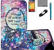 COCO FUN® Campanula Dream Pattern PU Leather Case with V8 USB Cable Flim and Stylus for Samsung Galaxy Note 3/Note 4