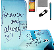 COCO FUN® Green Word Pattern PU Leather Case with V8 USB Cable, Flim and Stylus for Samsung Galaxy Note 3/Note 4