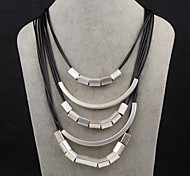 Necklace Statement Necklaces Jewelry Party / Daily Fashion Leather / Copper / Silver Plated Black / Silver 1pc Gift