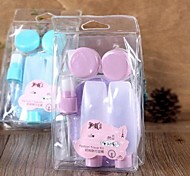 7Pcs Shading Makeup Plastic Travel Bottle+Cleansing Sponge Set Pink/Purple