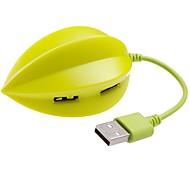 produto digital criativo 4 portas USB hub USB 2.0 em forma-carambola concentrador