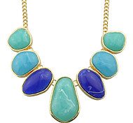 New Fashion Colored Resin Big Stone Statement Female Necklace