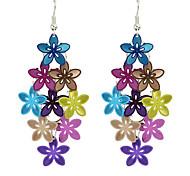 Colorful Metal Flower Shape Fancy Drop Earrings